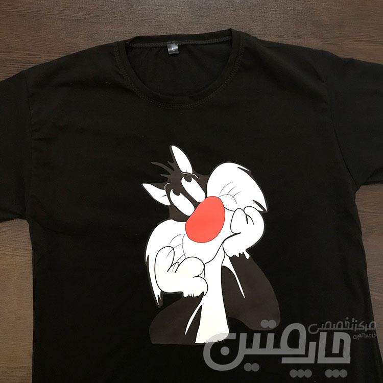 چاپ تیشرت بچگانه مشکی پنبه ای