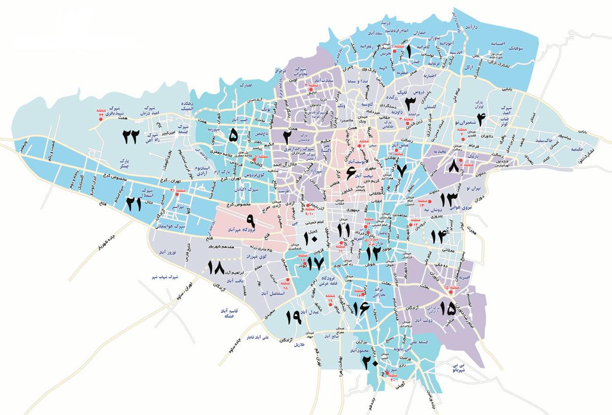 نقشه مناطق ۲۲ گانه تهران